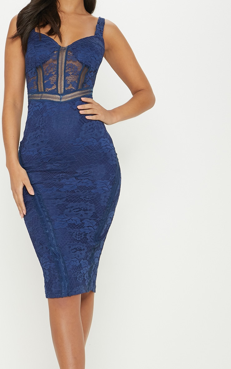 Navy Lace Cup Detail Midi Dress 5