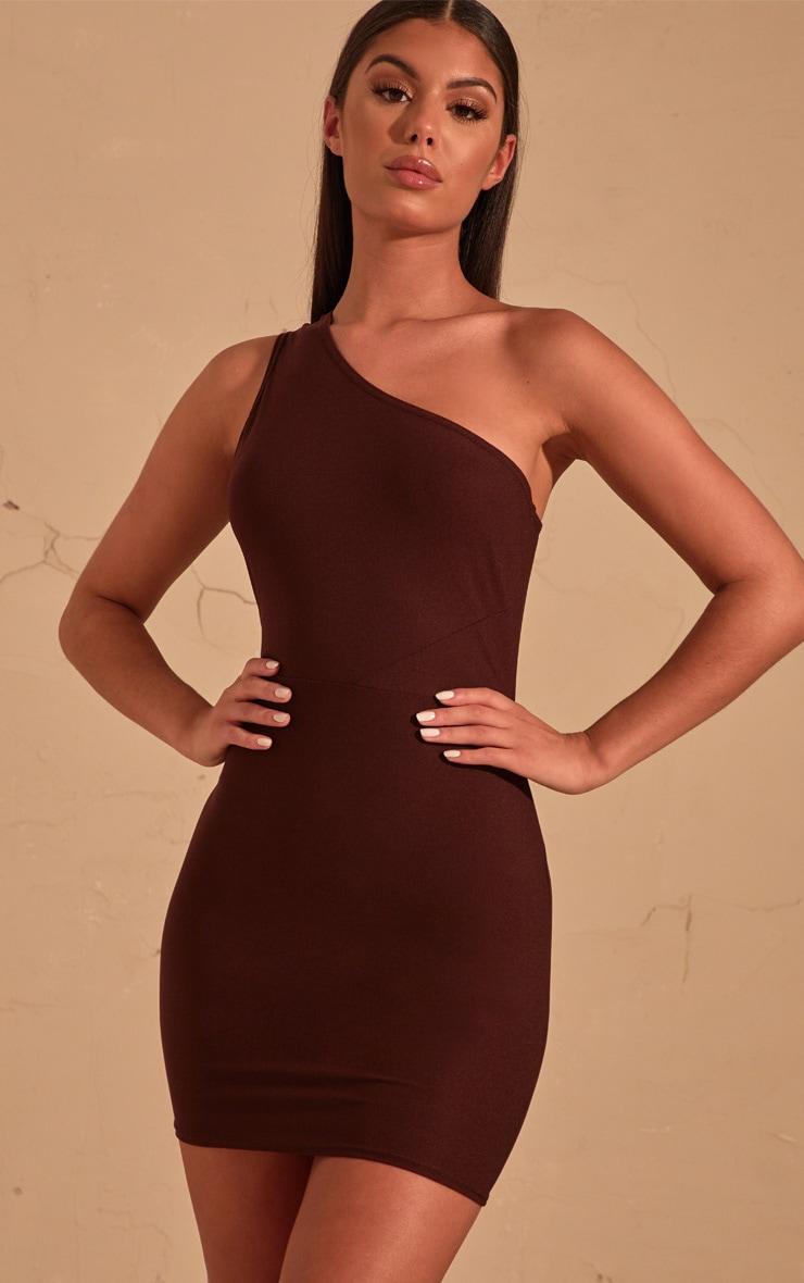 acab00c732f7 Chocolate Brown One Shoulder Bodycon Dress image 1