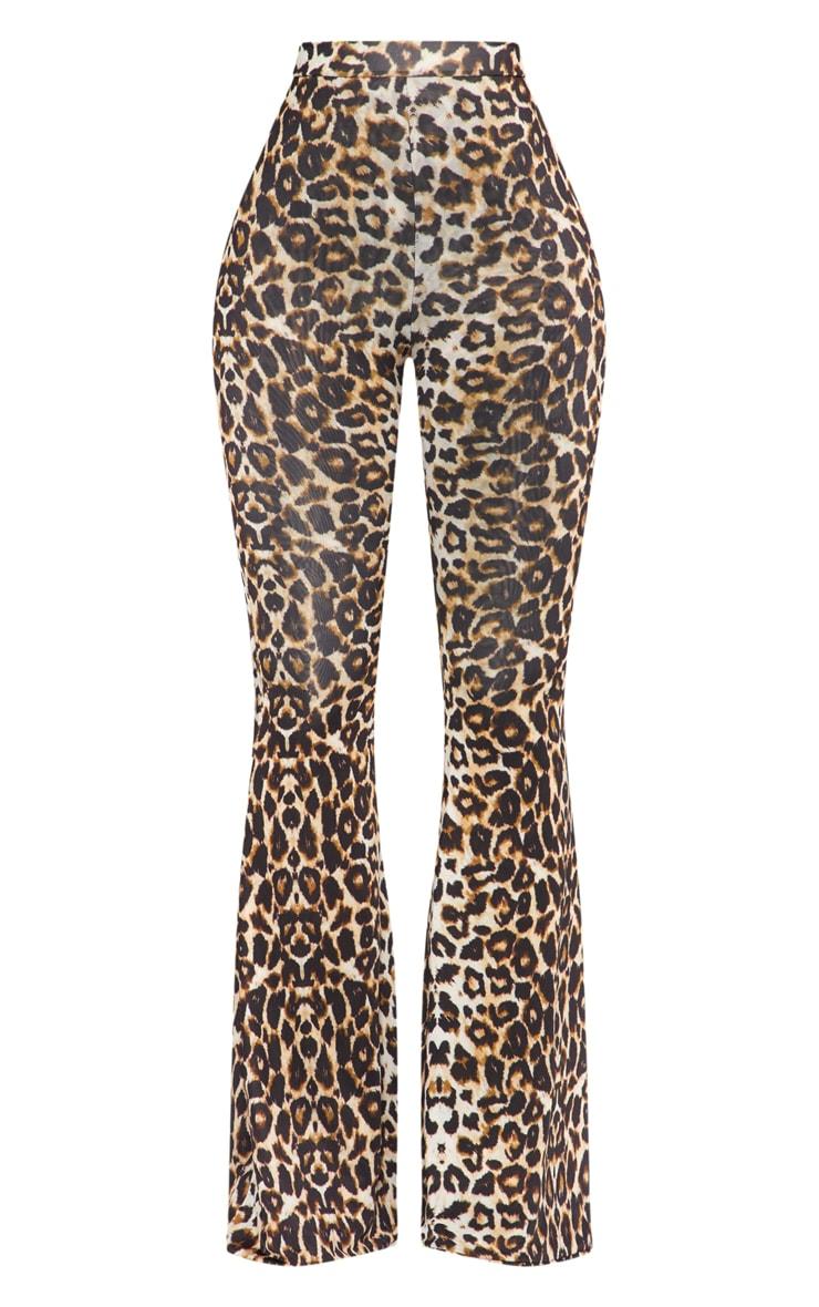 Shape Leopard Print Slinky Flared Trousers 2