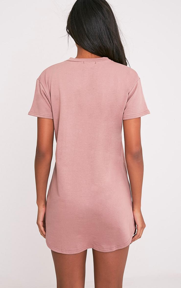 Kelisa robe t-shirt manches courtes aspect vieilli mauve foncé  2