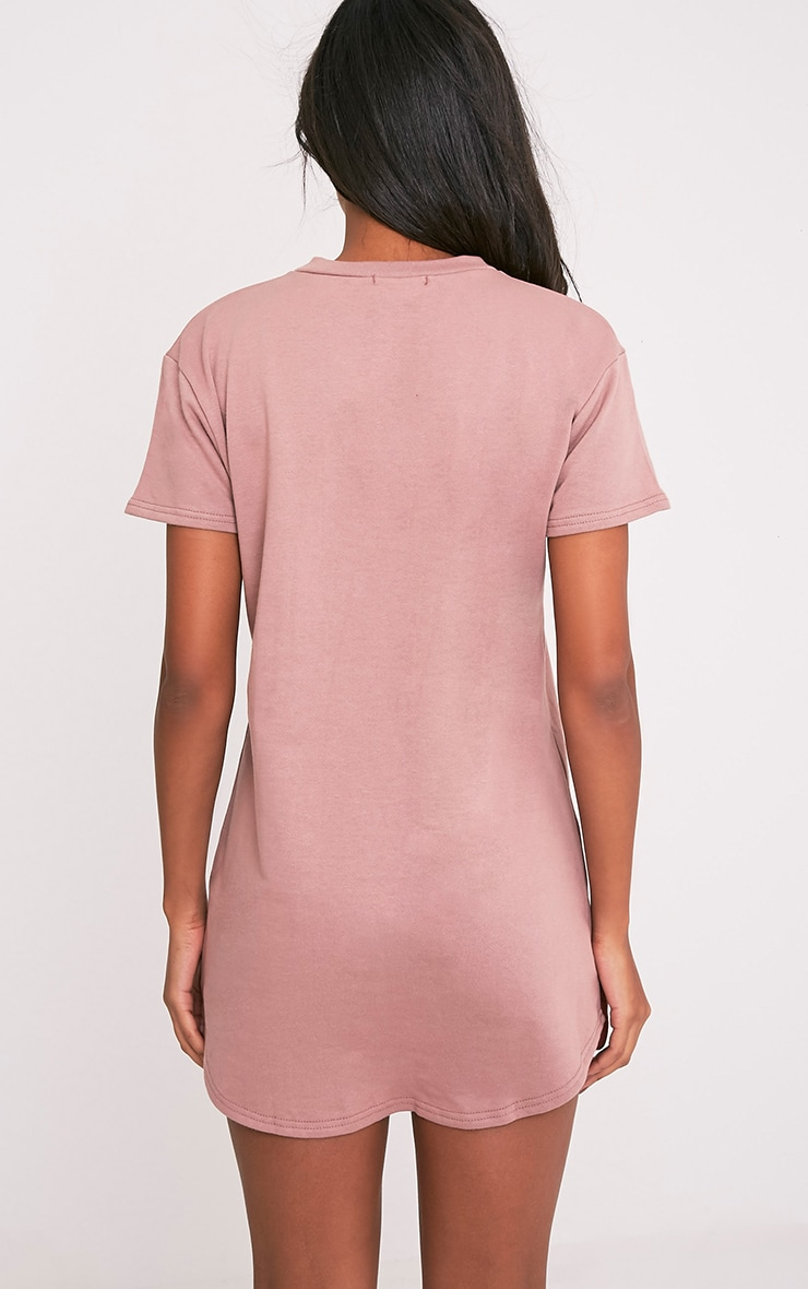Kelisa Dark Mauve Distressed Short Sleeve T-Shirt Dress 2