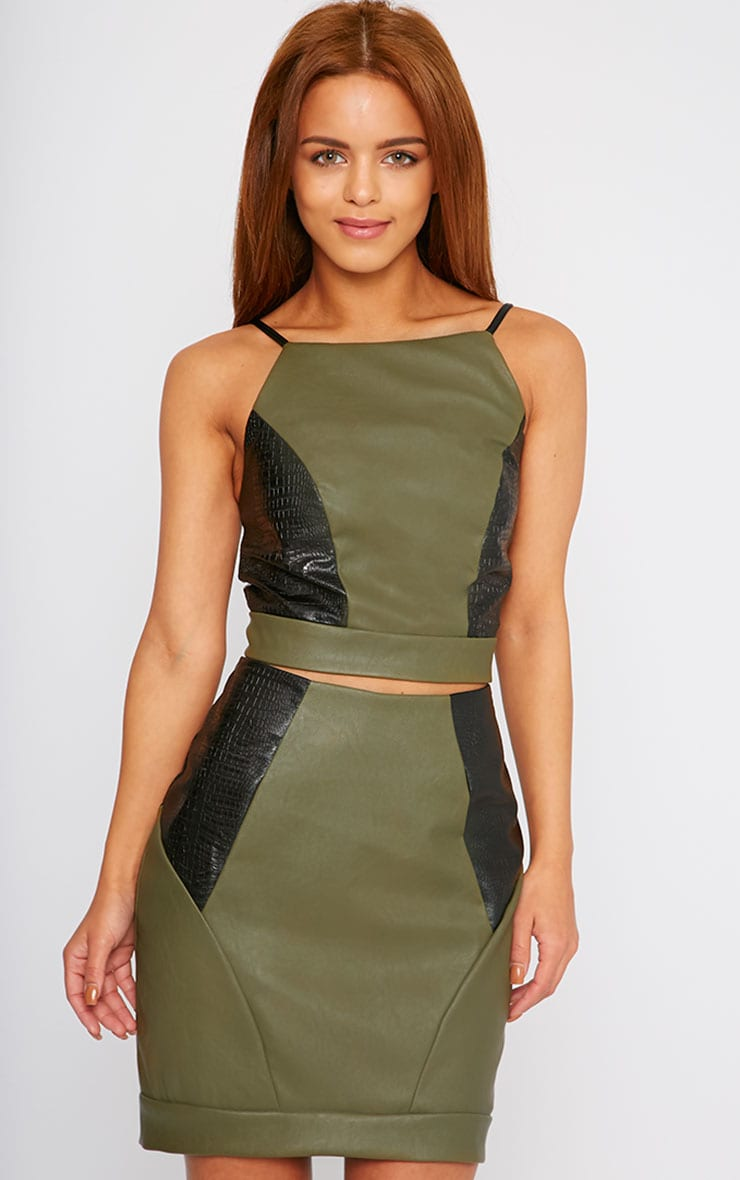 Phay Khaki Leather Panel Open Back Crop Top 1