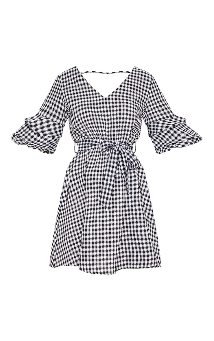 Black Gingham Tie Waist Tea Dress 4