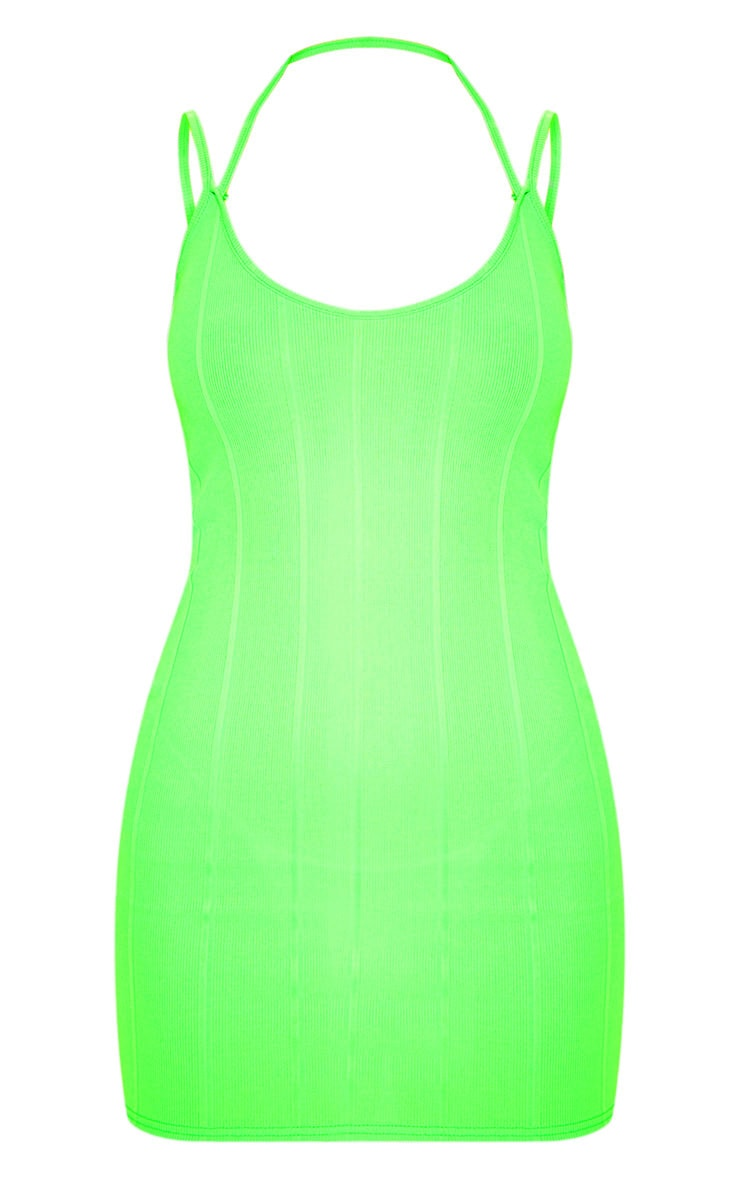 Lime Double Strap Detail Ribbed Bodycon 3