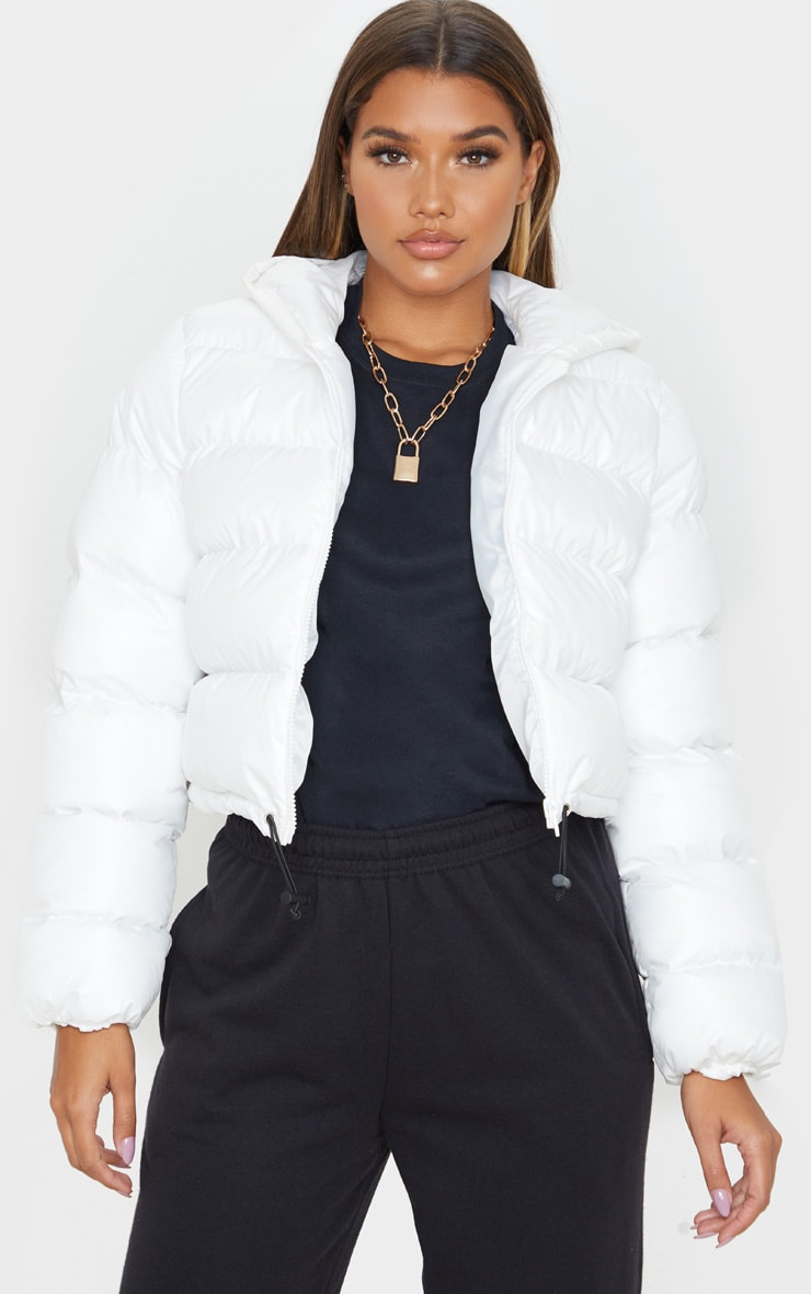 White Crop Toggle Detail Puffer 1