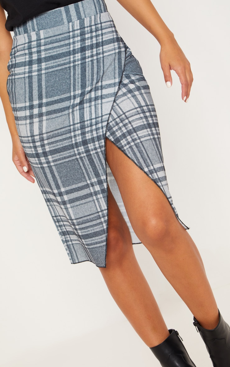 Petite Grey Checked Wrap Pencil Skirt  5