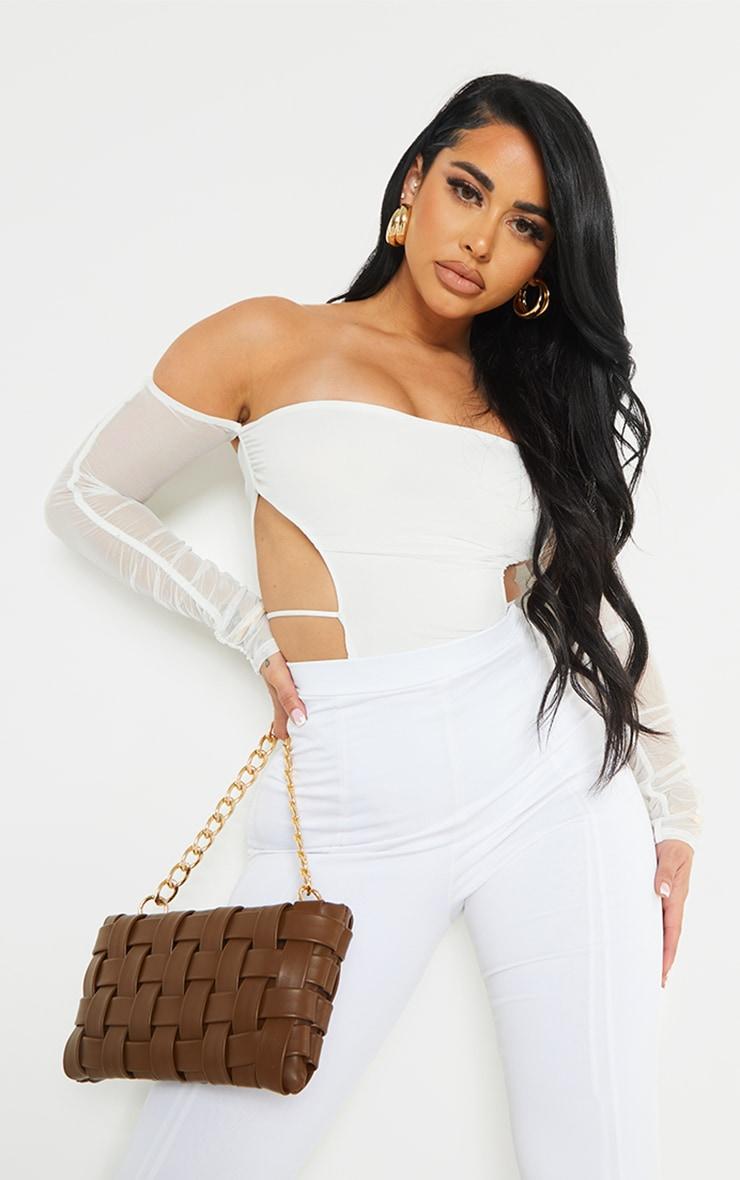 Shape Cream Mesh Bardot Cut Out Side Bodysuit 3