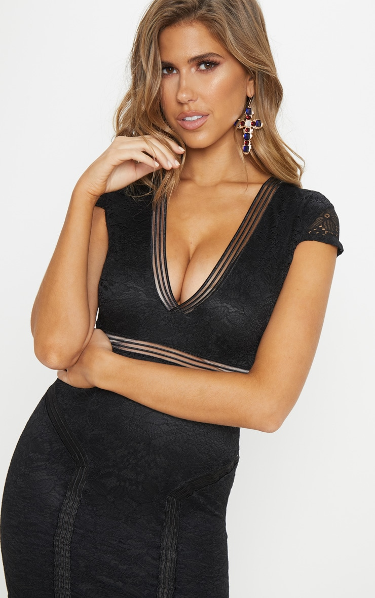 Black Lace Mesh Lined Cap Sleeve Bodycon Dress 5