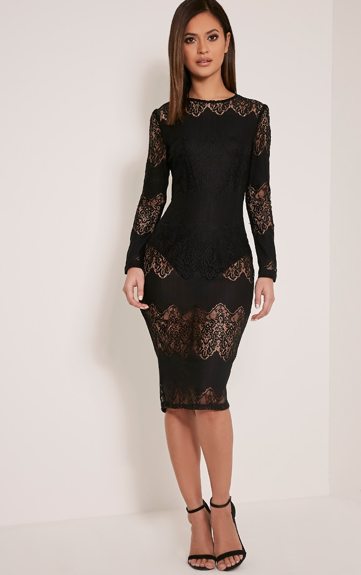 Lottey Black Lace Panel Sheer Midi Dress 1