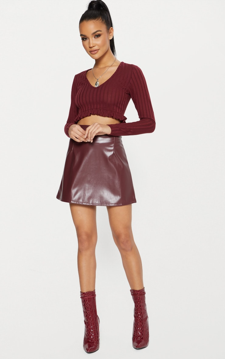 Maroon Faux Leather A Line Mini Skirt  4