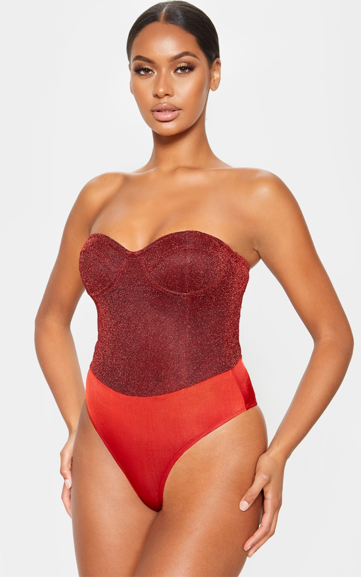 Red Glitter Bandeau Cupped Bodysuit  2