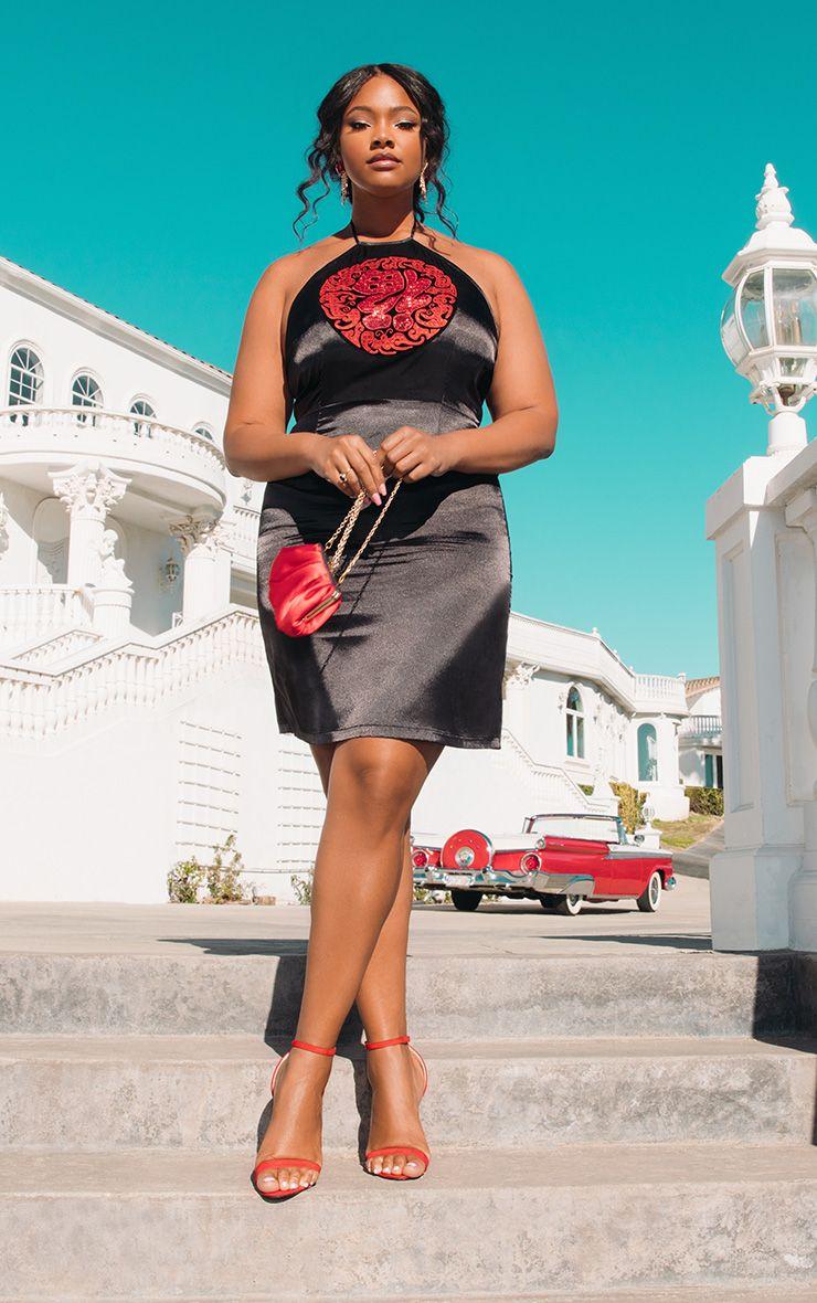 Plus Black Satin Sequin Oriental Bodycon Dress 1