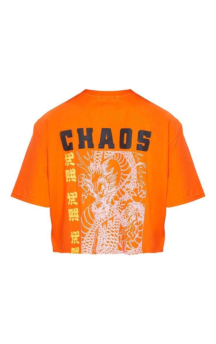 Orange Chaos Dragon Printed Cropped T Shirt 6