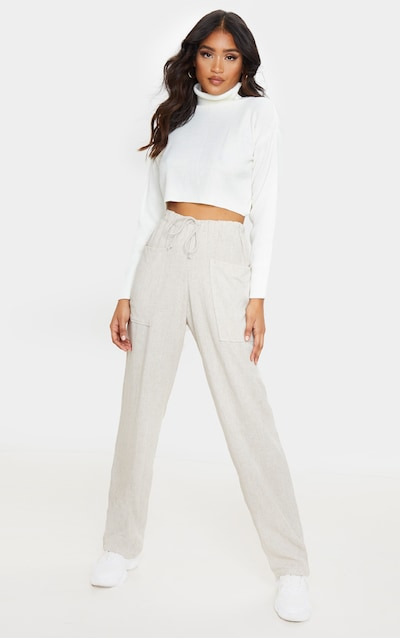 Stone Drawstring Waist Tapered Pocket Trouser