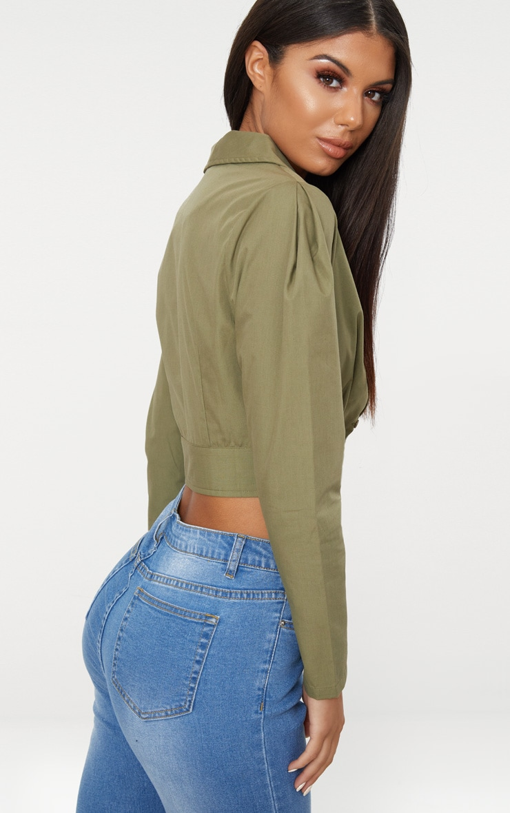 Khaki Plunge Puff Shoulder Shirt  2
