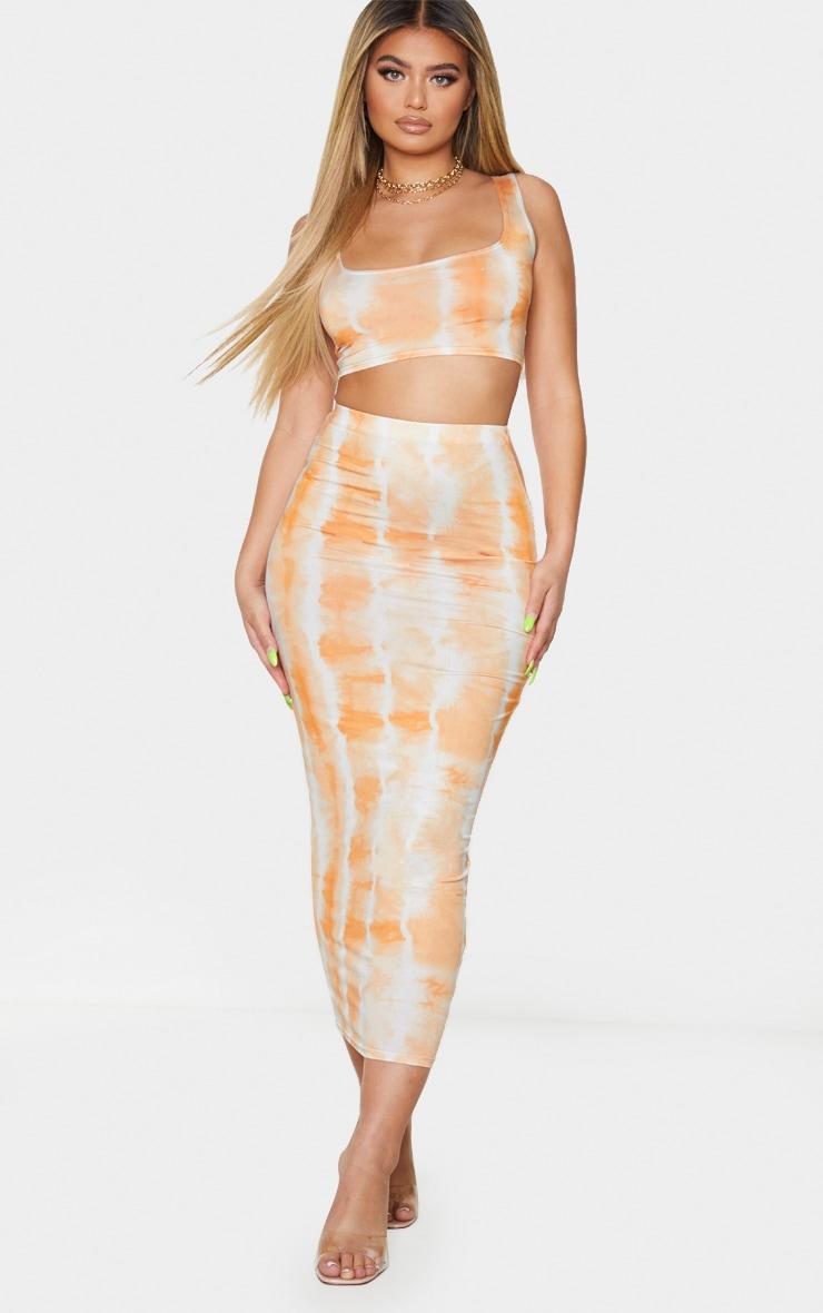 Orange Tie Dye Print Slinky Square Neck Sleeveless Crop Top 3