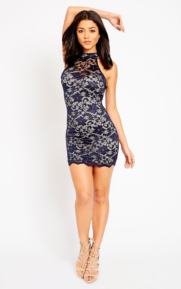 Soffi Navy High Neck Lace Bodycon Dress 3