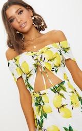 Lemon Ruched Cut Out Bardot Shift Dress 4