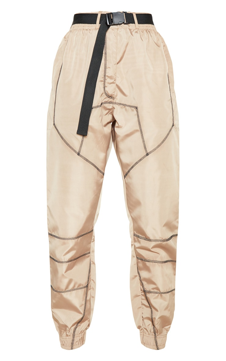 Stone Contrast Stitch Belted Shell Jogger 3