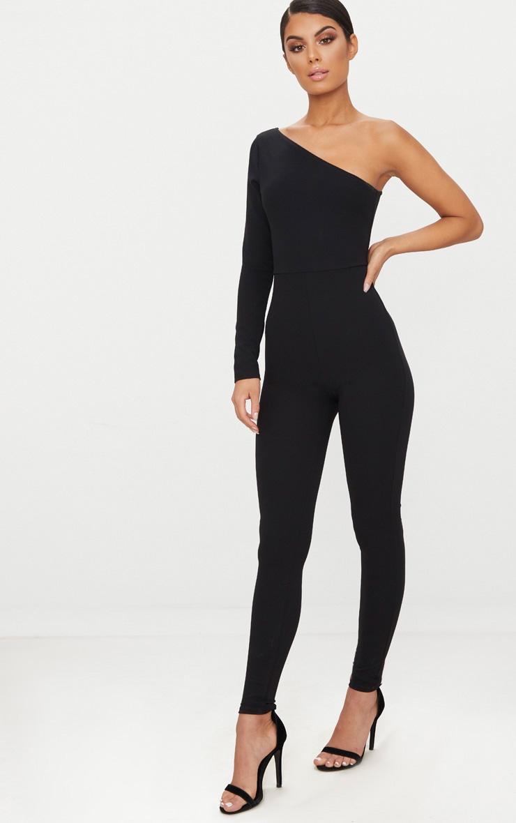Black Long Sleeve One Shoulder Jumpsuit 4