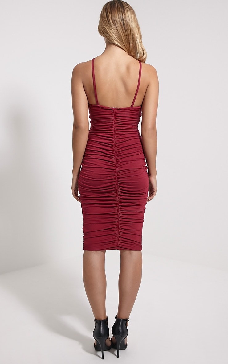 Tarina Oxblood Ruched Front Midi Dress 2