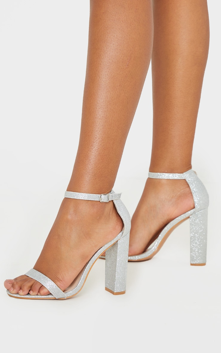 Silver Glitter May Heeled Sandals 2