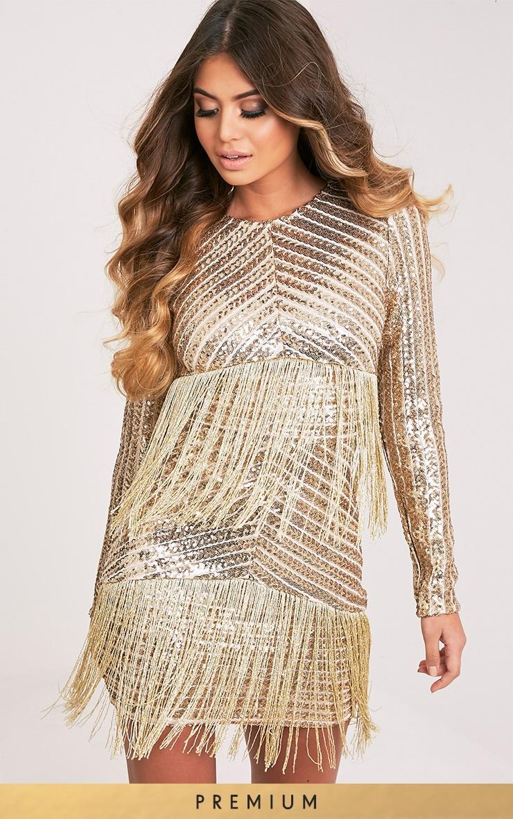 Lorannia Gold Premium Sequin Fringed Bodycon Dress 2