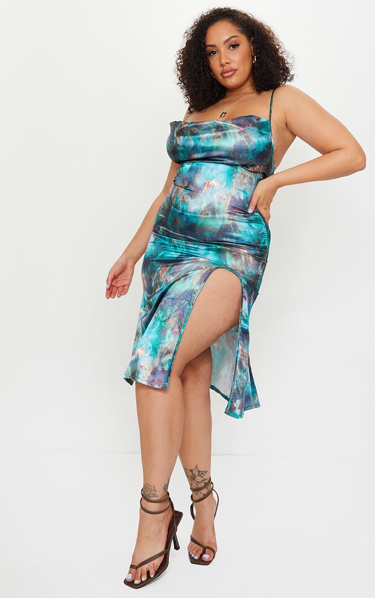 Plus Green Flame Print Satin Midi Dress 1