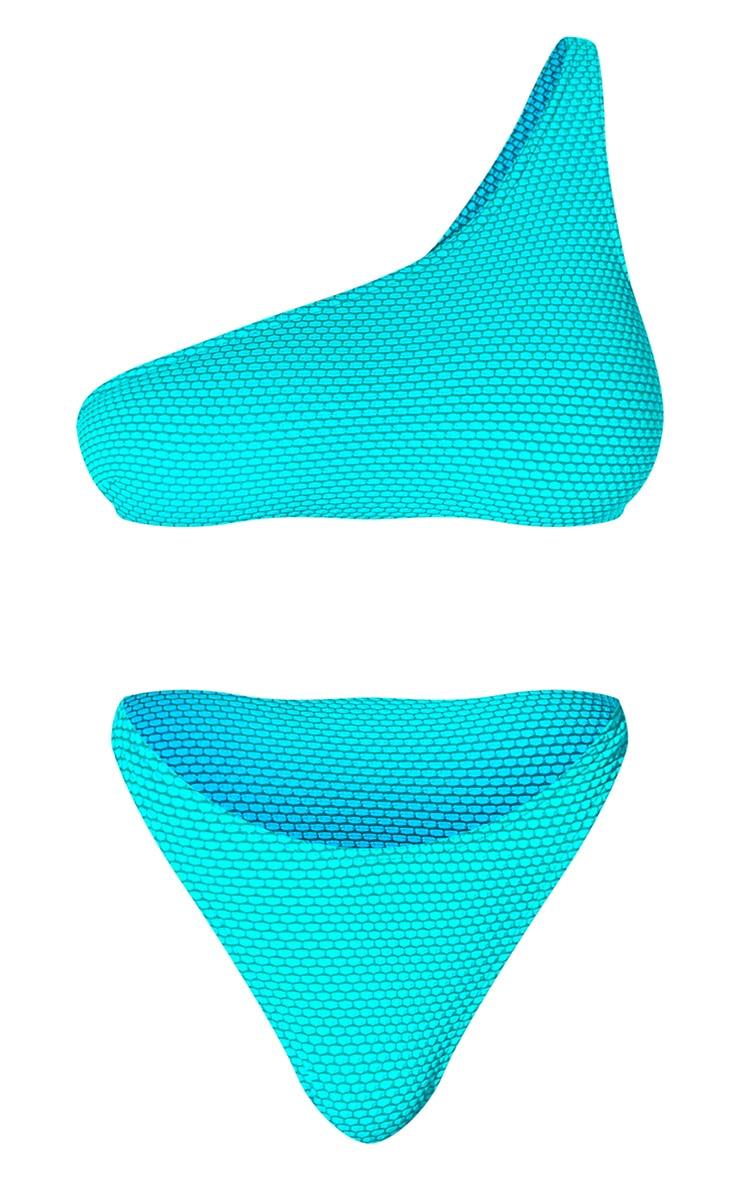 Turquoise Waffle One Shoulder Bikini Set 5