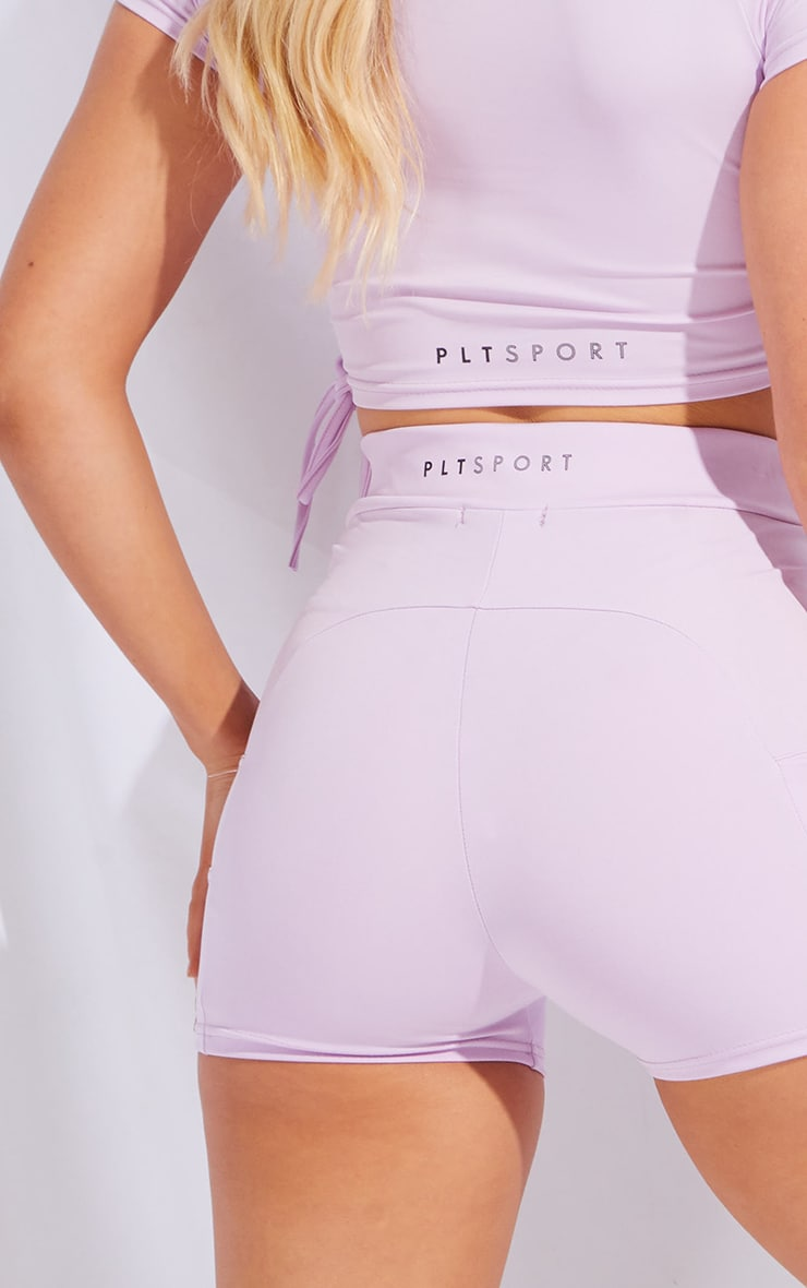 PRETTYLITTLETHING Lilac Sport Panelled Booty Shorts 5