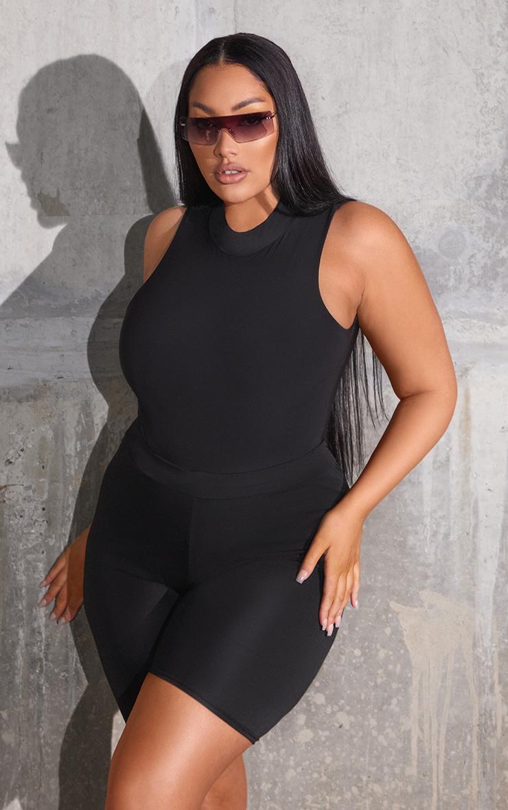 Plus Black Slinky High Neck Sleeveless Bodysuit 2
