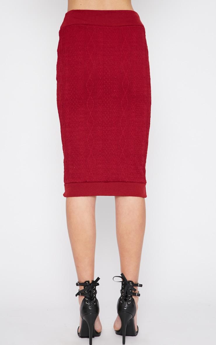 Deni Red Cable Knit Midi Skirt 4