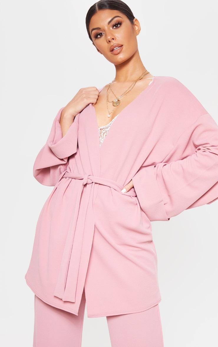 Pink Belted Oversized Sleeve Blazer 1