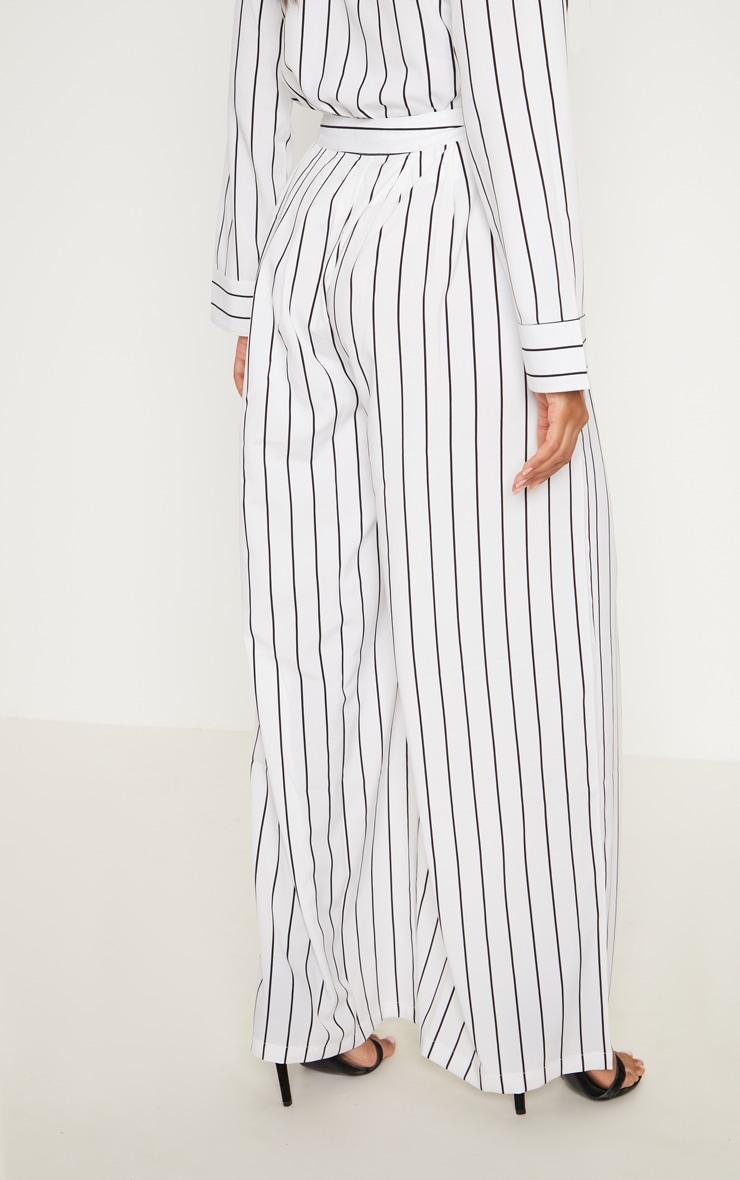 White Wide Leg Stripe Trouser 3
