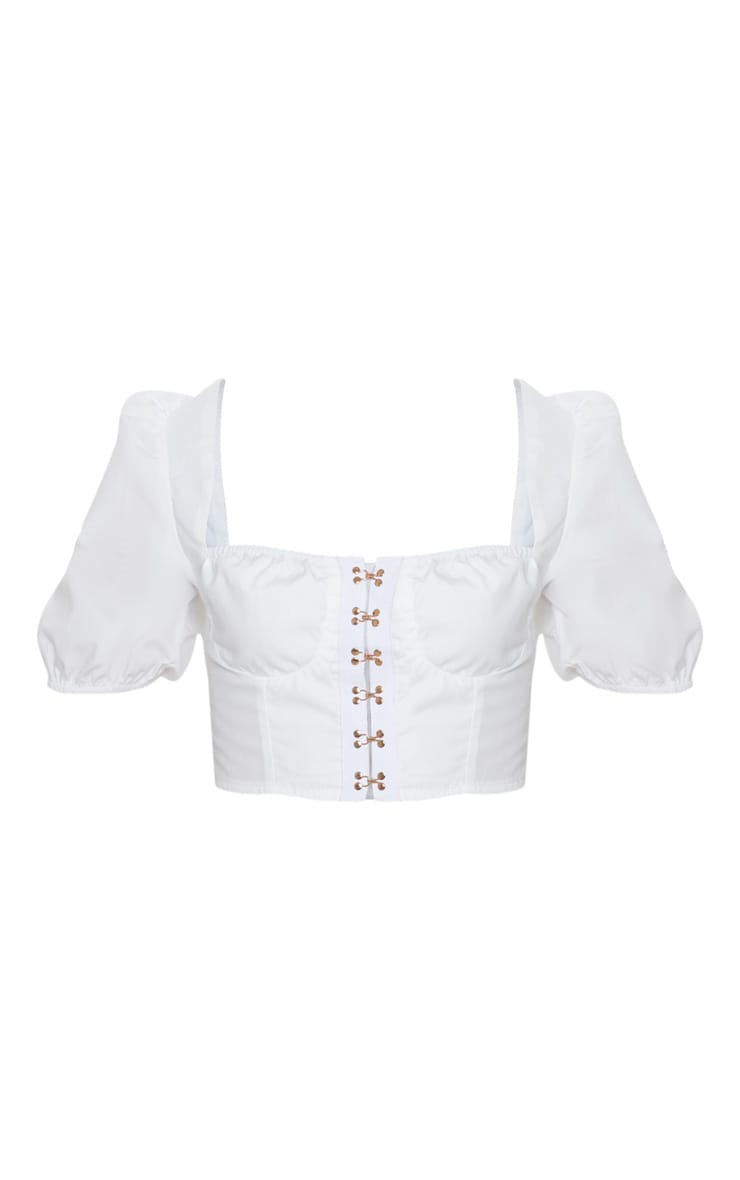 White Hook & Eye Puff Sleeve Crop Top 3