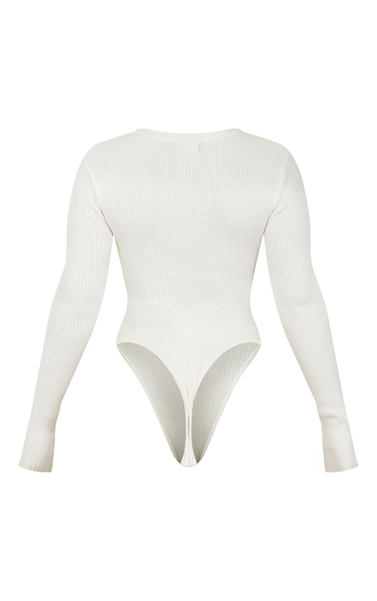 Body en maille tricot côtelée crème à manches longues 6