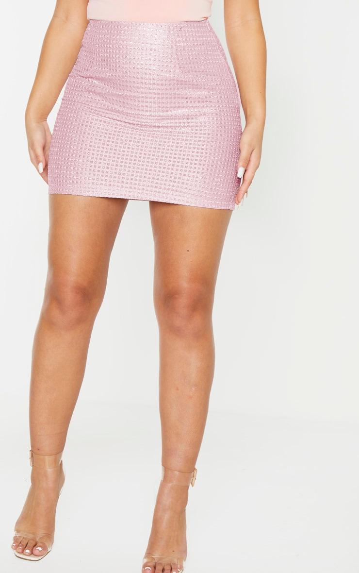 Pink Woven Glitter Detail Mini Skirt 2