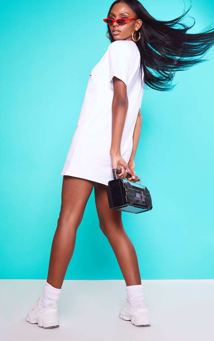 KARL KANI White Embroidered T Shirt Dress 2