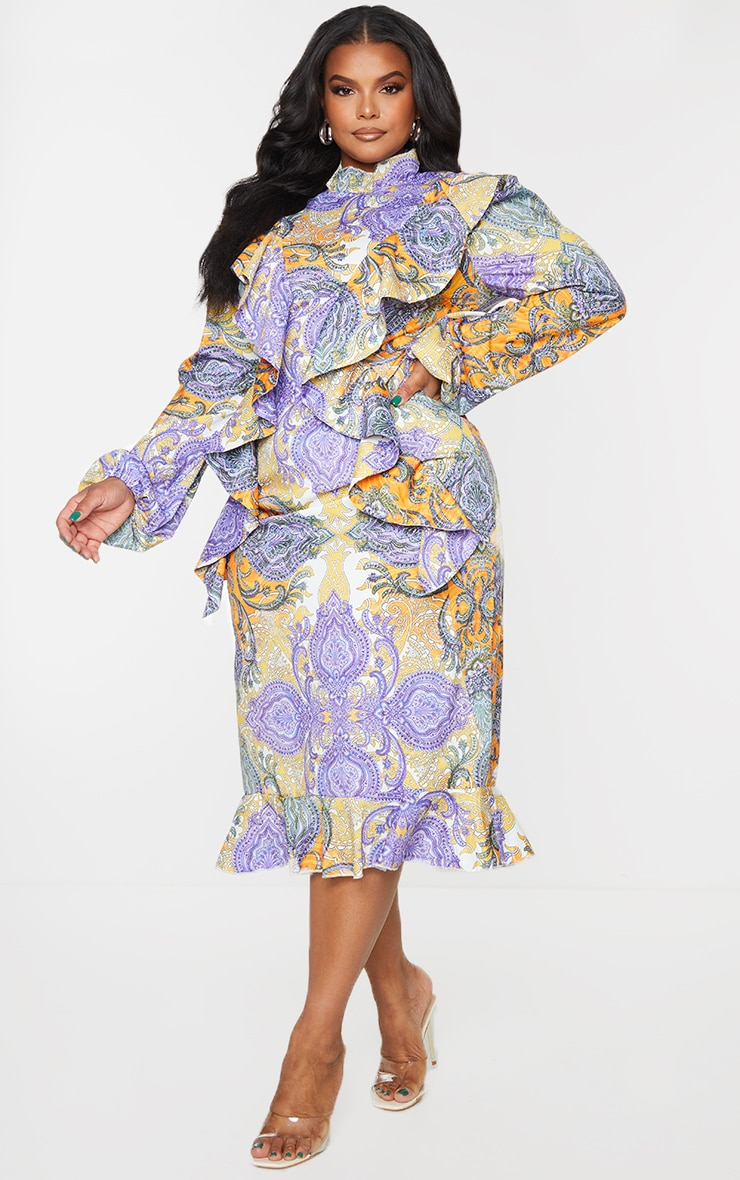 Plus Multi Paisley Printed Frill High Neck Midi Dress 3