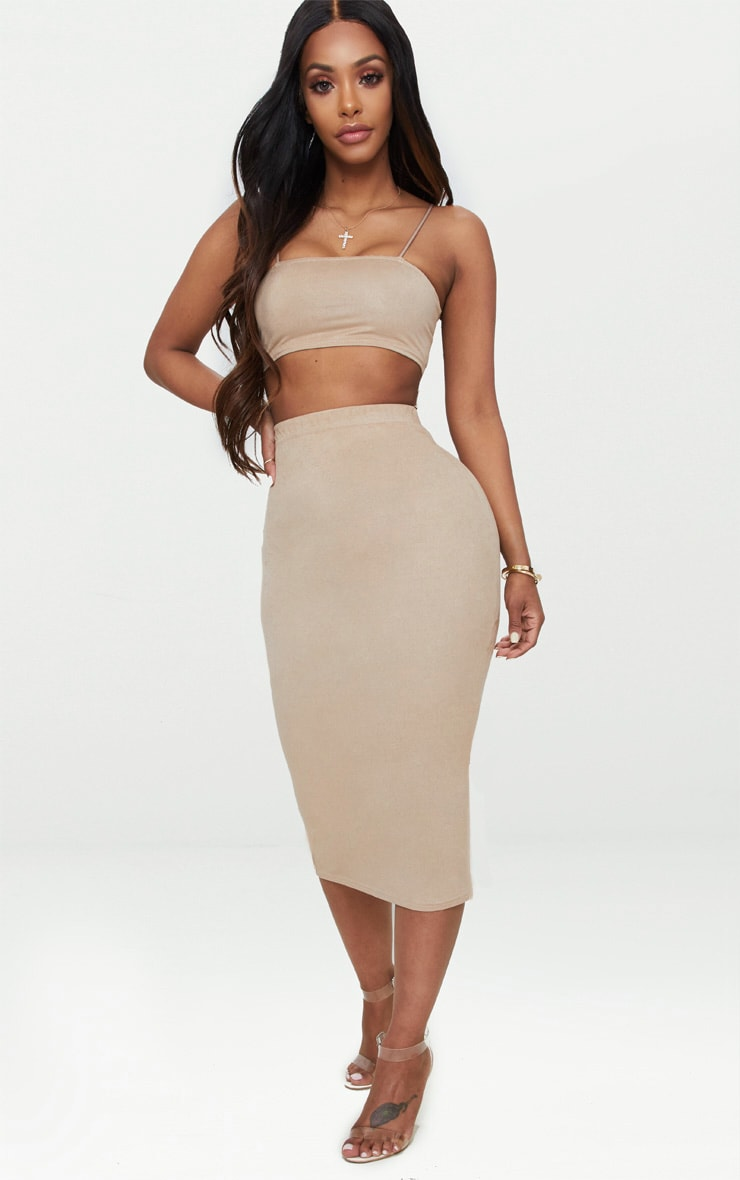 Shape Stone Faux Suede Strappy Straight Neck Crop Top Pretty Little Thing
