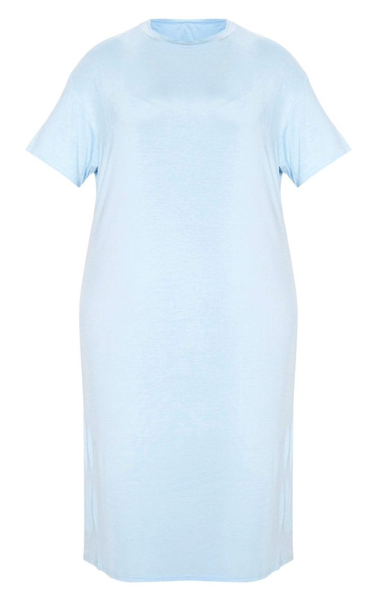 Plus Dusty Blue Oversized Boxy Midi T Shirt Dress 3