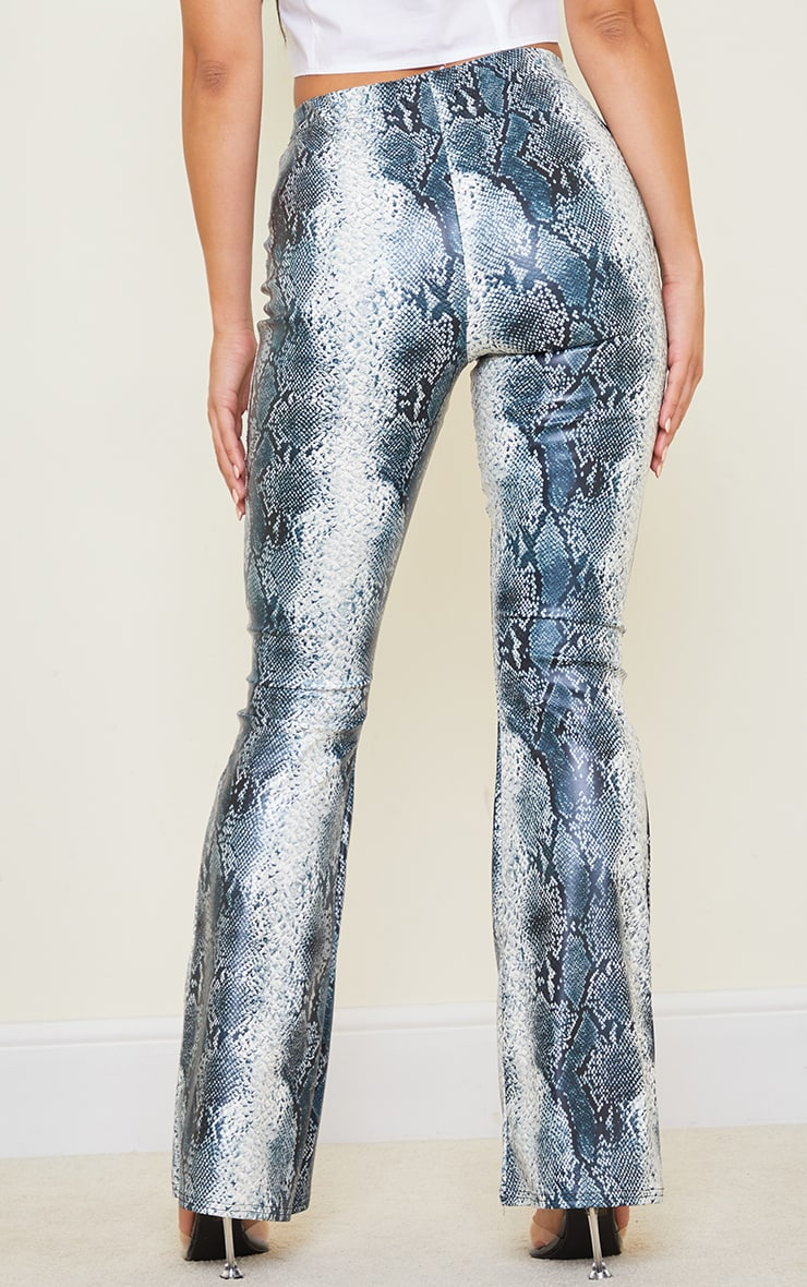 Tall Grey Snake Print PU Flared Pants 3