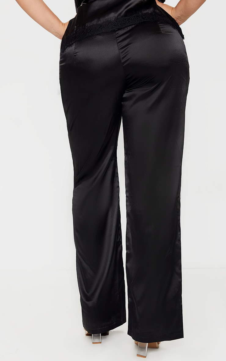 Plus Black Satin Wide Leg Fit Pants  3
