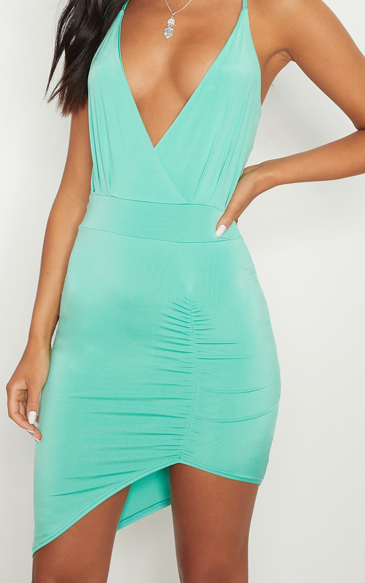 Turquoise Plunge Ruched Bodycon Dress 5