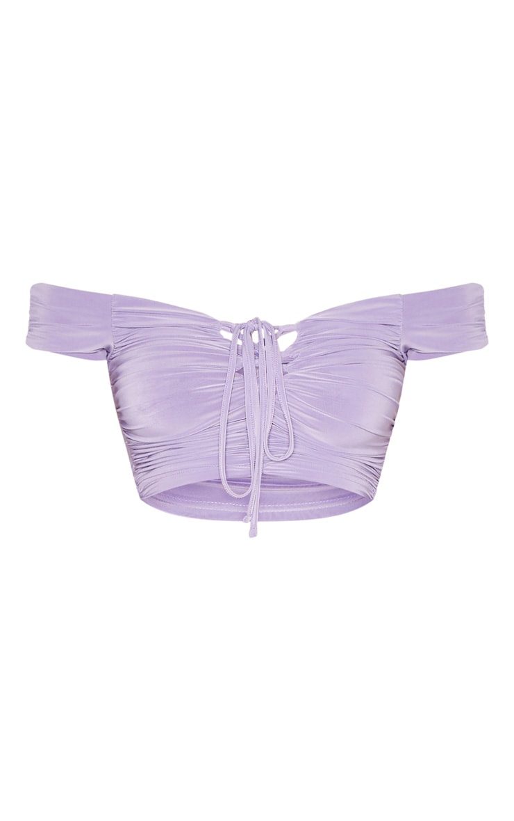 Lilac Bardot Slinky Lace Up Detail Crop Top 3
