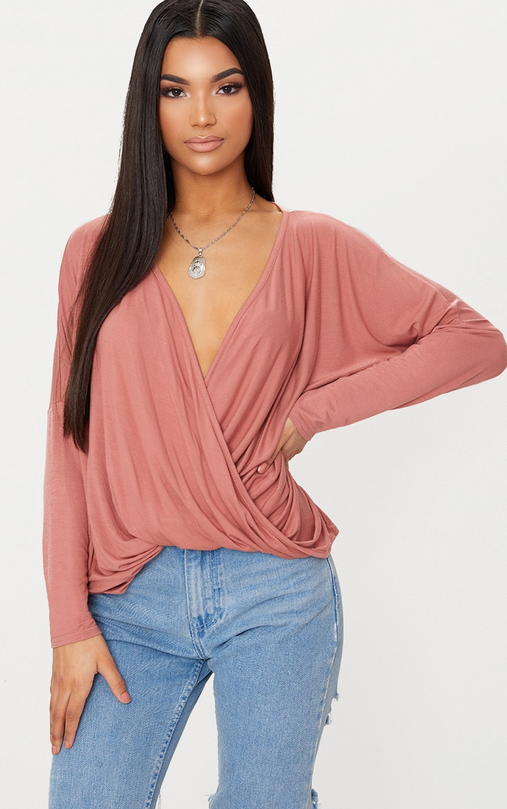 Dusty Rose Draped Long Sleeve Top  1