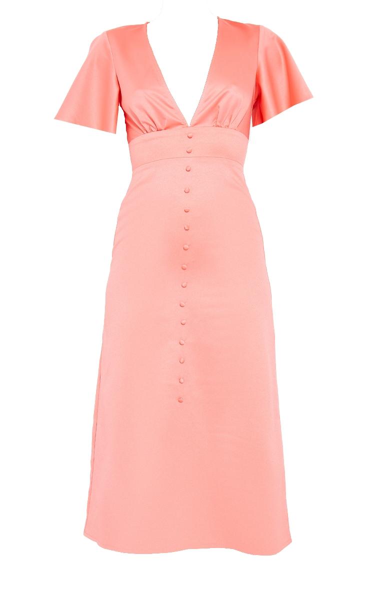 Pink Satin Plunge Button Detail Midi Dress 5