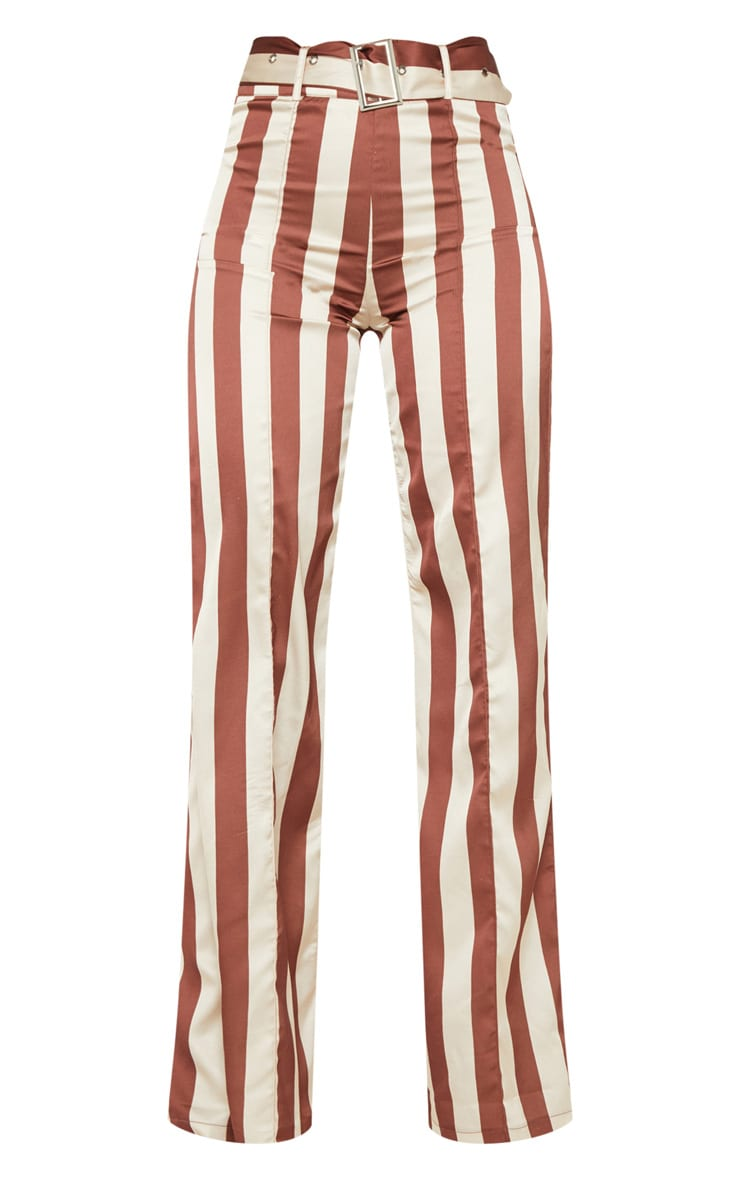 Tall Chocolate Brown Belt Detail Wide Leg Pants 3