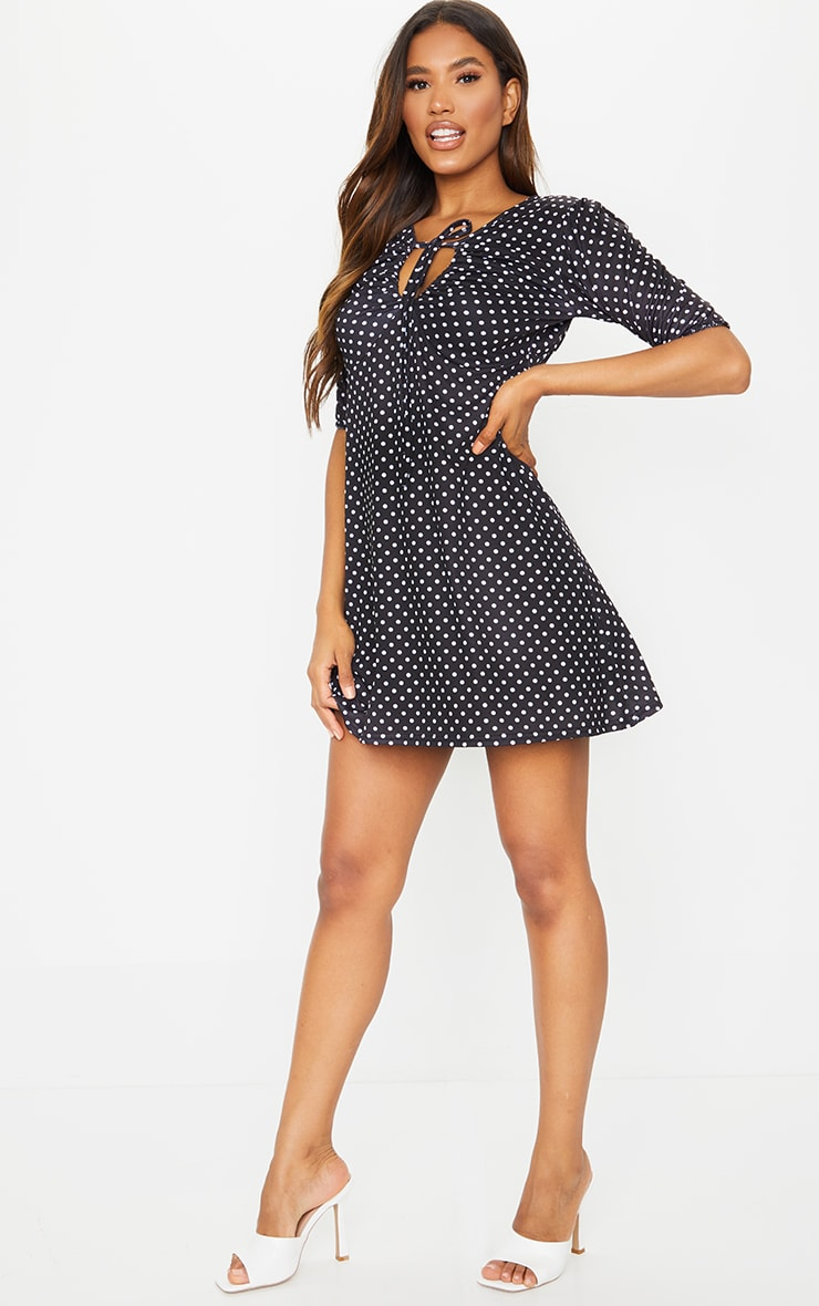 Black Polka Dot Print Tie Bust Detail Shift Dress 3
