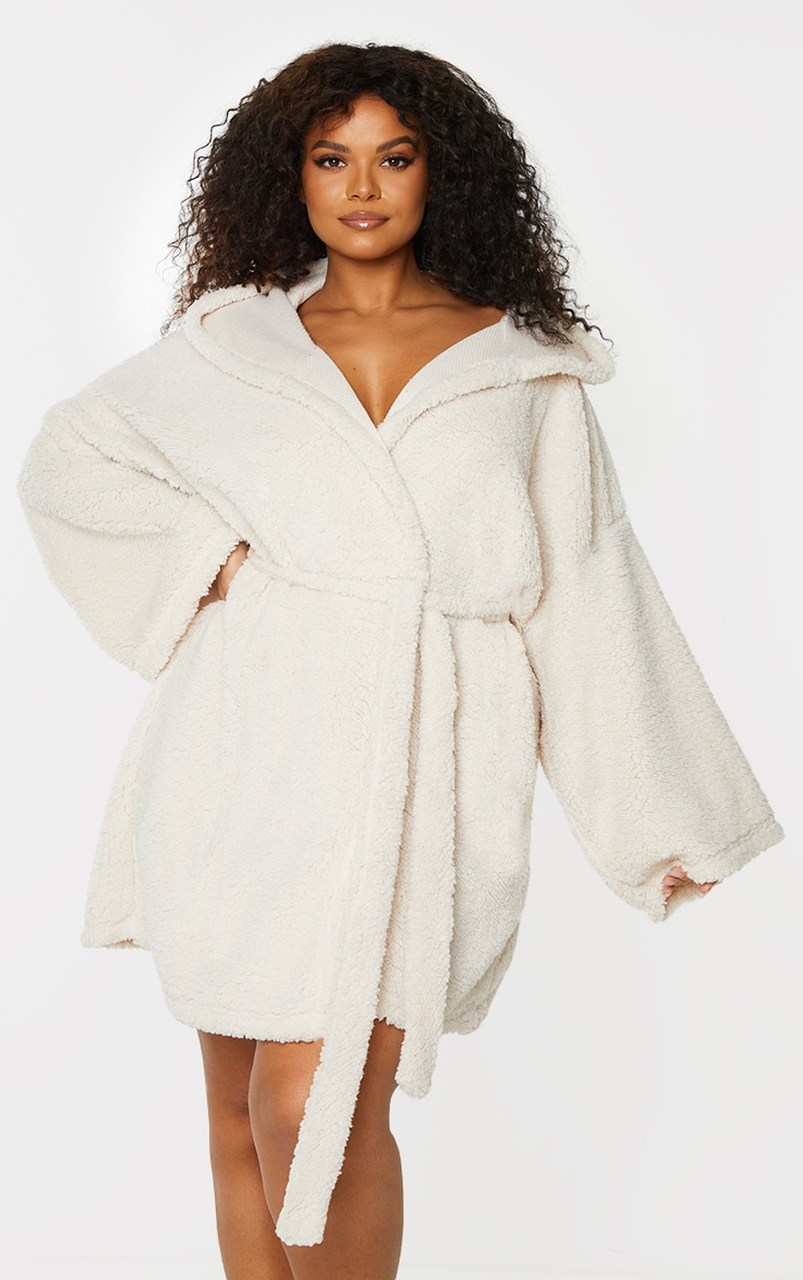 Plus Cream Borg Dressing Gown 1